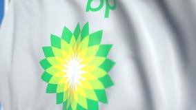 Bandiera d'ondeggiamento con il logo del plc di BP, primo piano Animazione loopable editoriale 3D illustrazione vettoriale