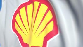 Bandiera d'ondeggiamento con il logo del plc di Royal Dutch Shell, primo piano Animazione loopable editoriale 3D stock footage