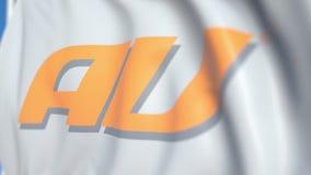 Bandiera d'ondeggiamento con il logo dell'AU, primo piano Animazione loopable editoriale 3D stock footage