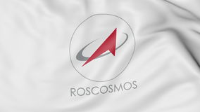 Bandiera d'ondeggiamento con il logo dell'impresa statale di Roscosmos Rappresentazione editoriale 3D Fotografia Stock
