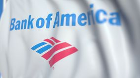 Bandiera d'ondeggiamento con il logo della banca di America, primo piano Animazione loopable editoriale 3D archivi video