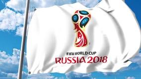 Bandiera d'ondeggiamento con il logo 2018 della coppa del Mondo della FIFA contro il fondo del cielo animazione dell'editoriale 4 illustrazione di stock