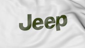 Bandiera d'ondeggiamento con il logo della jeep Rappresentazione editoriale 3D Immagine Stock
