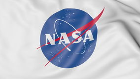 Bandiera d'ondeggiamento con il logo della NASA Rappresentazione editoriale 3D Fotografie Stock Libere da Diritti