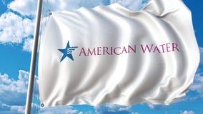 Bandiera d'ondeggiamento con il logo di American Water Rappresentazione di Editoial 3D illustrazione vettoriale