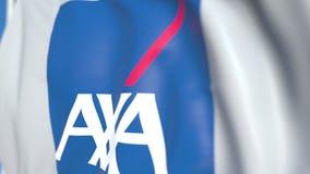 Bandiera d'ondeggiamento con il logo di AXA, primo piano Animazione loopable editoriale 3D video d archivio