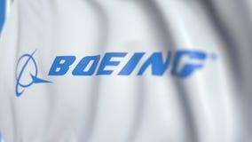 Bandiera d'ondeggiamento con il logo di Boeing, primo piano Animazione loopable editoriale 3D video d archivio