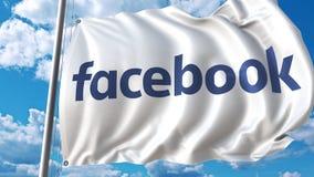 Bandiera d'ondeggiamento con il logo di Facebook contro le nuvole commoventi animazione dell'editoriale 4K royalty illustrazione gratis