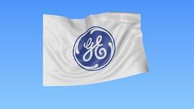 Bandiera d'ondeggiamento con il logo di General Electric, ciclo senza cuciture, fondo blu Animazione editoriale 4K ProRes, alfa stock footage