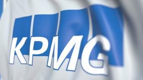 Bandiera d'ondeggiamento con il logo di KPMG, primo piano Animazione loopable editoriale 3D royalty illustrazione gratis