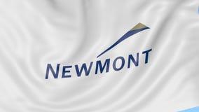 Bandiera d'ondeggiamento con il logo di Newmont Mining Corporation Animazione dell'editoriale del ciclo 4K di Seamles illustrazione vettoriale