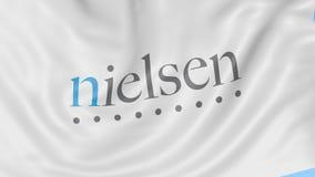 Bandiera d'ondeggiamento con il logo di Nielsen Holdings Animazione dell'editoriale del ciclo 4K di Seamles illustrazione di stock