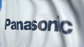 Bandiera d'ondeggiamento con il logo di Panasonic Corporation, primo piano Animazione loopable editoriale 3D archivi video