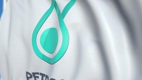 Bandiera d'ondeggiamento con il logo di Petronas, primo piano Animazione loopable editoriale 3D archivi video