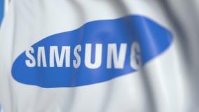 Bandiera d'ondeggiamento con il logo di Samsung, primo piano Animazione loopable editoriale 3D archivi video