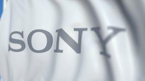 Bandiera d'ondeggiamento con il logo di Sony Corporation, primo piano Animazione loopable editoriale 3D archivi video