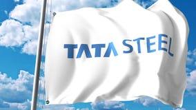 Bandiera d'ondeggiamento con il logo di Tata Steel contro le nuvole ed il cielo Rappresentazione editoriale 3D Illustrazione di Stock