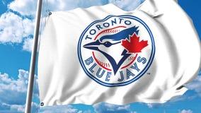 Bandiera d'ondeggiamento con il logo professionale del gruppo di Toronto Blue Jays Rappresentazione editoriale 3D Fotografia Stock Libera da Diritti