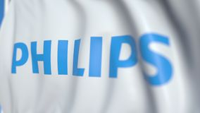 Bandiera d'ondeggiamento con Koninklijke Philips N V logo, primo piano Animazione loopable editoriale 3D video d archivio
