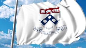 Bandiera d'ondeggiamento con l'emblema dell'università della Pennsylvania clip dell'editoriale 4K illustrazione di stock