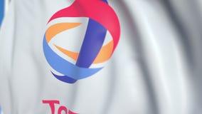 Bandiera d'ondeggiamento con la S totale a logo, primo piano Animazione loopable editoriale 3D stock footage
