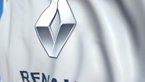 Bandiera d'ondeggiamento con Renault S a logo, primo piano Animazione loopable editoriale 3D illustrazione vettoriale
