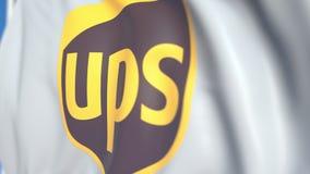 Bandiera d'ondeggiamento con United Parcel Service, inc Logo di UPS, primo piano Animazione loopable editoriale 3D stock footage
