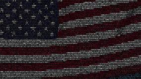 Bandiera d'ondeggiamento degli Stati Uniti fatti dei simboli del testo su uno schermo di computer Animazione loopable concettuale stock footage
