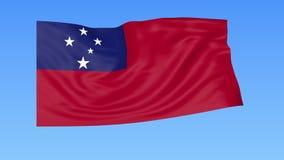 Bandiera d'ondeggiamento dei Samoa, ciclo senza cuciture Dimensione esatta, fondo blu Parte di tutti i paesi messi 4K ProRes con  illustrazione vettoriale