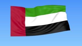 Bandiera d'ondeggiamento dei UAE, ciclo senza cuciture Dimensione esatta, fondo blu Parte di tutti i paesi messi 4K ProRes con l' royalty illustrazione gratis