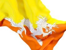 Bandiera d'ondeggiamento del Bhutan Fotografia Stock
