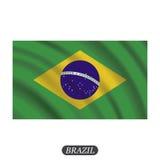 Bandiera d'ondeggiamento del Brasile su un fondo bianco Illustrazione di vettore Fotografia Stock