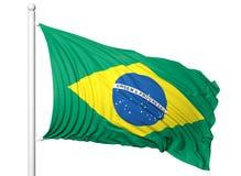 Bandiera d'ondeggiamento del Brasile sull'asta della bandiera Fotografie Stock Libere da Diritti