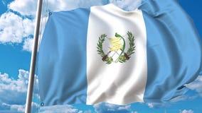 Bandiera d'ondeggiamento del Guatemala sul fondo del cielo animazione 3D video d archivio