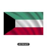 Bandiera d'ondeggiamento del Kuwait su un fondo bianco Illustrazione di vettore illustrazione vettoriale