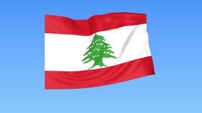 Bandiera d'ondeggiamento del Libano, ciclo senza cuciture Dimensione esatta, fondo blu Parte di tutti i paesi messi 4K ProRes con illustrazione di stock