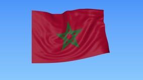Bandiera d'ondeggiamento del Marocco, ciclo senza cuciture Dimensione esatta, fondo blu Parte di tutti i paesi messi 4K ProRes co royalty illustrazione gratis