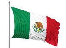 Bandiera d'ondeggiamento del Messico sull'asta della bandiera Immagini Stock Libere da Diritti