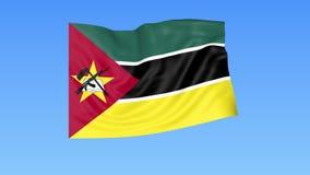 Bandiera d'ondeggiamento del Mozambico, ciclo senza cuciture Dimensione esatta, fondo blu Parte di tutti i paesi messi 4K ProRes  video d archivio