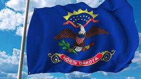 Bandiera d'ondeggiamento del Nord Dakota rappresentazione 3d Fotografie Stock Libere da Diritti