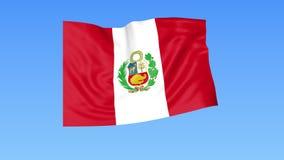 Bandiera d'ondeggiamento del Perù, ciclo senza cuciture Dimensione esatta, fondo blu Parte di tutti i paesi messi 4K ProRes con l illustrazione vettoriale