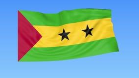Bandiera d'ondeggiamento del Sao Tomé, ciclo senza cuciture Dimensione esatta, fondo blu Parte di tutti i paesi messi 4K ProRes c illustrazione vettoriale
