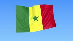 Bandiera d'ondeggiamento del Senegal, ciclo senza cuciture Dimensione esatta, fondo blu Parte di tutti i paesi messi 4K ProRes co illustrazione vettoriale