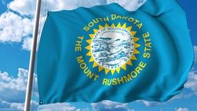 Bandiera d'ondeggiamento del Sud Dakota rappresentazione 3d Fotografie Stock Libere da Diritti