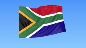 Bandiera d'ondeggiamento del Sudafrica, ciclo senza cuciture Dimensione esatta, fondo blu Parte di tutti i paesi messi 4K ProRes  royalty illustrazione gratis