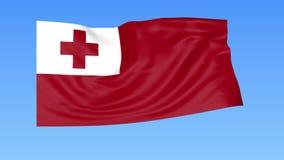 Bandiera d'ondeggiamento del Tonga, ciclo senza cuciture Dimensione esatta, fondo blu Parte di tutti i paesi messi 4K ProRes con  illustrazione di stock