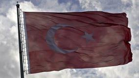 Bandiera d'ondeggiamento del turco sopra video d archivio
