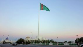 Bandiera d'ondeggiamento del Turkmenistan stock footage