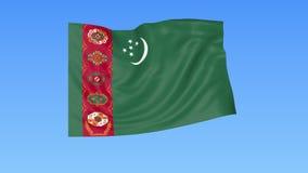Bandiera d'ondeggiamento del Turkmenistan, ciclo senza cuciture Dimensione esatta, fondo blu Parte di tutti i paesi messi 4K ProR royalty illustrazione gratis
