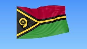 Bandiera d'ondeggiamento del Vanuatu, ciclo senza cuciture Dimensione esatta, fondo blu Parte di tutti i paesi messi 4K ProRes co royalty illustrazione gratis